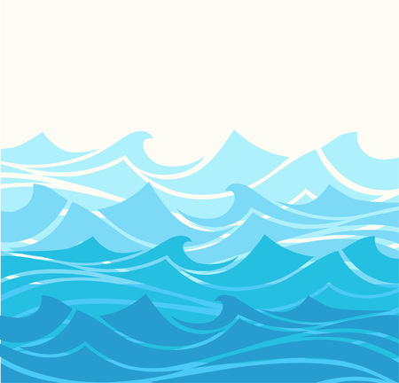Blue water sea waves abstract vector background. Water wave curve background, line ocean banner illustration Çizim
