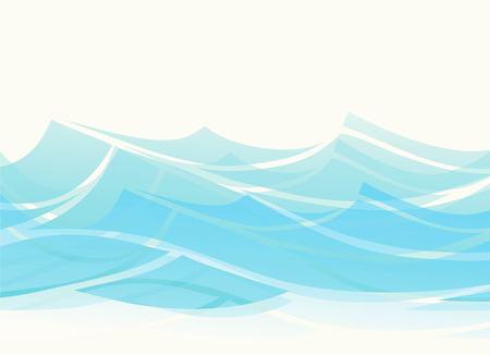 Blue water sea waves abstract vector background. Water wave curve background, line ocean banner illustration Ilustração
