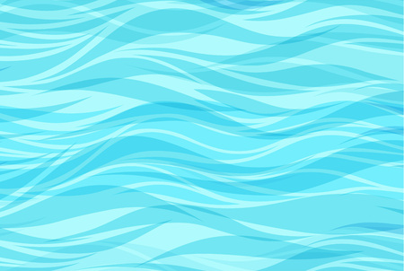 Blue water sea waves abstract vector background. Water wave curve background, line ocean banner illustration Imagens - 126005858