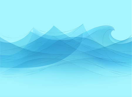 Blue water sea waves abstract vector background. Water wave curve background, line ocean banner illustration Vettoriali