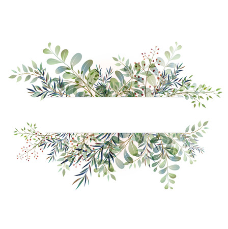 Card with beautiful twigs with leaves.