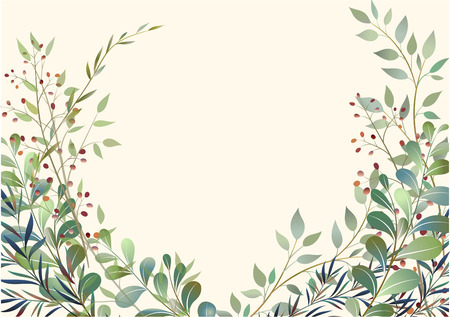 Card with beautiful twigs with leaves. Wedding ornament concept. Imitation of watercolor, isolated on white. Sketched wreath, floral and herbs garland