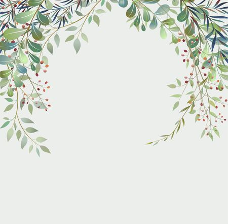 Handdrawn Vector Watercolour style, nature illustration. Background with leaves and branches, Imitation of watercolor Vettoriali