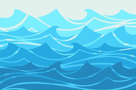 Blue Water waves abstract, ocean banner illustration.