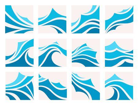 Marine pattern with stylized blue waves