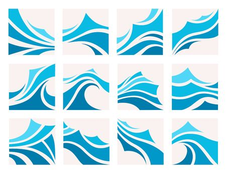 Marine pattern with stylized blue waves Ilustração