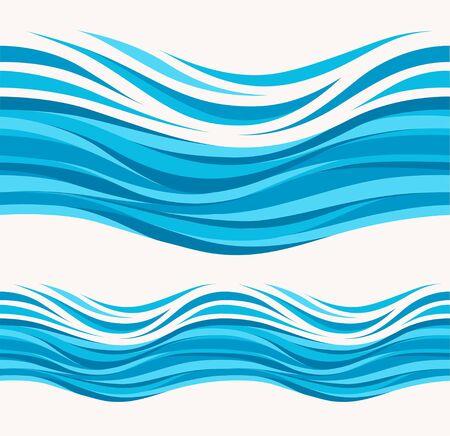Marine seamless pattern with stylized waves