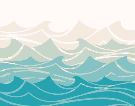 Blue water sea waves abstract vector background. Ilustração