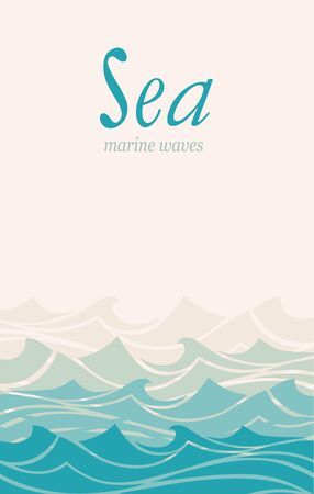 Blue water sea waves abstract vector background. Vettoriali