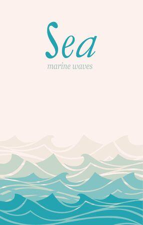 Blue water sea waves abstract vector background. Illusztráció