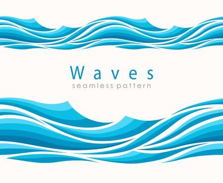Marine seamless pattern with stylized waves on a light background.