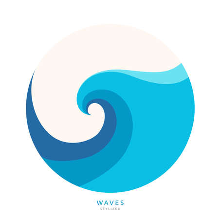 Water Wave abstract design. Cosmetics Surf Sport Vettoriali