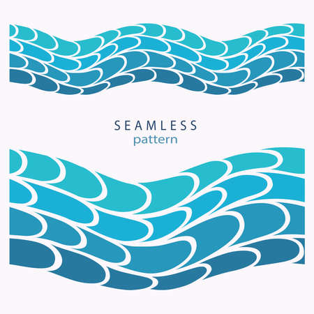 Stylized blue waves and drops on a light background