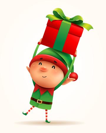 Piccolo elfo con regalo presente. Isolato.