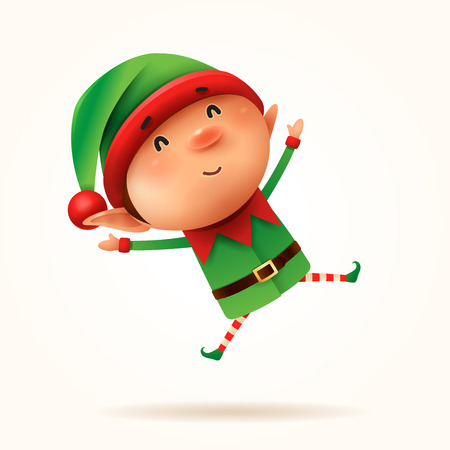 Little elf jumps. Isolated.