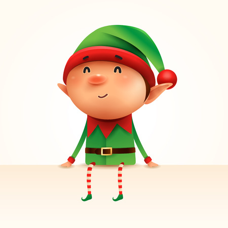 Little elf sits at the edge. Isolated. Illustration