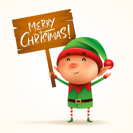 Little elf holds a wooden board with Christmas greetings. Isolated. Vectores