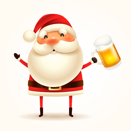 Santa Claus with beer. Isolated.