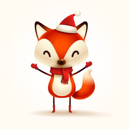 Christmas Cute Little Fox with Red Scarf and Santa's Cap.