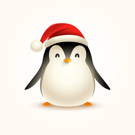 Christmas Cute Little Penguin with Santa's Cap.