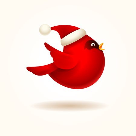 Christmas Cute Little Red Cardinal Bird with Santa's Cap. Stock Illustratie