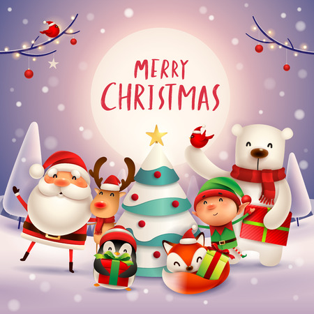 Merry Christmas! Happy Christmas companions in the moonlight. Santa Claus, Reindeer, Elf, Polar Bear, Fox, Penguin and Red Cardinal Bird in Christmas snow scene. Stock Illustratie