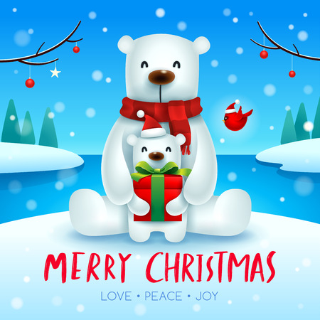 Polar Bear and baby cub in Christmas snow scene.