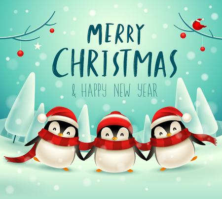 Śliczne małe pingwiny w Boże Narodzenie śniegu scena zimowy krajobraz. Boże Narodzenie ładny postać z kreskówki zwierząt.