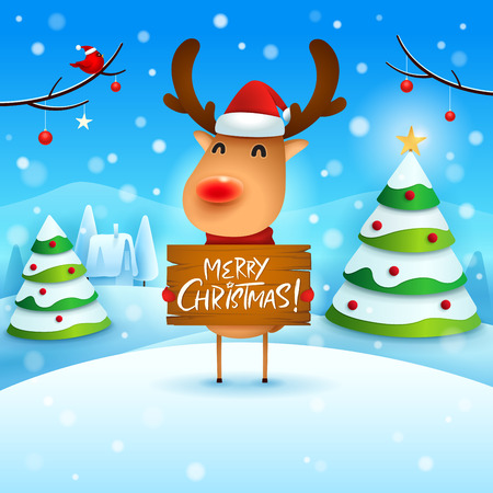 Merry Christmas! The red-nosed reindeer holds wooden board sign in Christmas snow scene winter landscape.