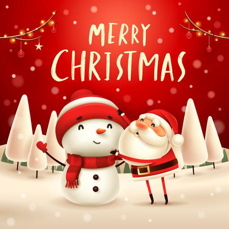 Merry Christmas! Santa Claus makes a Snowman in Christmas snow scene. Winter landscape. Standard-Bild - 115057220