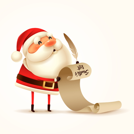 Santa Claus is holding a long check list.