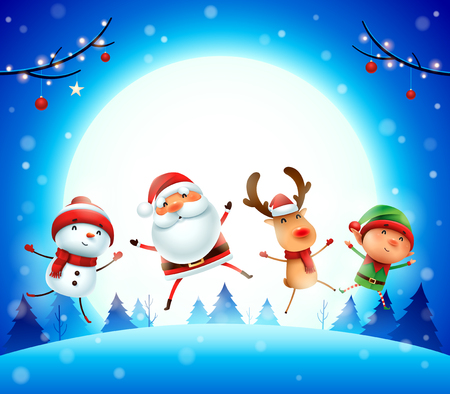 Merry Christmas! Happy Christmas companions. Santa Claus, Reindeer, Snowman and Elf jumping in the moonlight. Фото со стока - 114267829