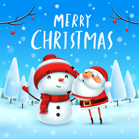 Merry Christmas! Santa Claus makes a Snowman in Christmas snow scene. Winter landscape. Standard-Bild - 114267833