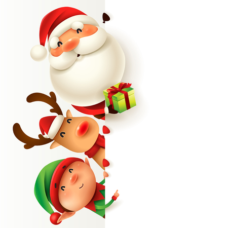 Santa Claus, Reindeer and Elf with blank signboard. Wide empty space for design.