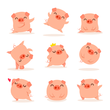 Collection of little piggy. A variety of little piggy design. Ilustração