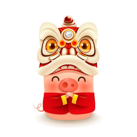 Cerdito con cabeza de danza del león de año nuevo chino. Aislado.