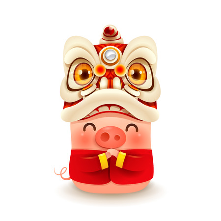 Little Pig with Chinese New Year Lion Dance Head. Isolated.