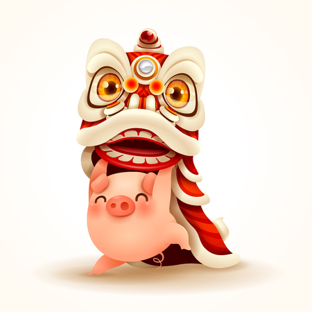 Little Pig performs Chinese New Year Lion Dance. Isolated. Illustration