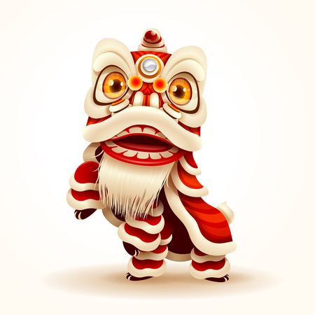 Chinese New Year Lion Dance. Isolated. Stock Illustratie