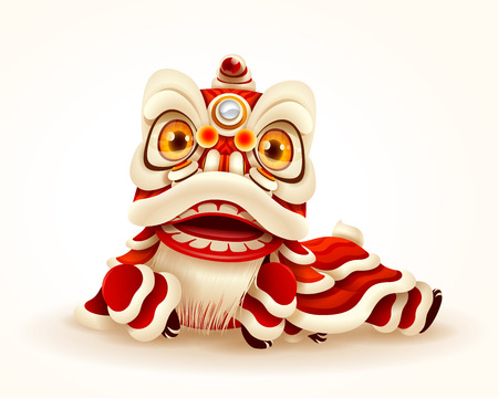 Chinese New Year Lion Dance. Isolated. 矢量图像