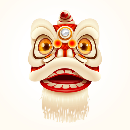 Chinese New Year Lion Dance Head. Isolated.