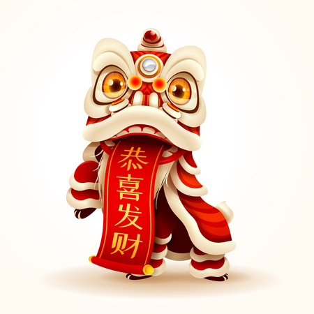 Chinese New Year Lion Dance with scroll. Isolated. Translation: May you have a prosperous new year. Vectores