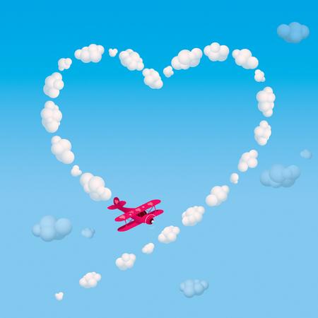 Biplane skywriting a heart with smoke.