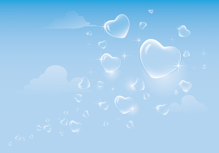 Heart shaped bubbles floating on air. Suitable for Valentine and Wedding. Illustration