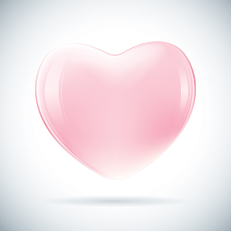 3D pink valentine heart shape in vector. 일러스트
