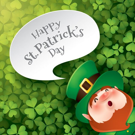 cartoon character of funny leprechaun with inscription happy saint patrick day on speech bubble.  イラスト・ベクター素材