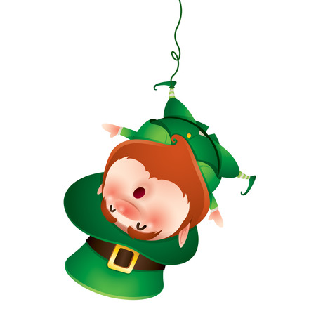 cartoon character of funny leprechaun in green cylinder hat hanging by leg on rope, saint patrick day concept
