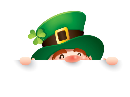 cartoon character of funny leprechaun in green cylinder hat peeking out from behind white paper, saint patrick day concept.