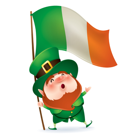 cartoon character of funny leprechaun in green cylinder hat holding flag of Ireland in hand, saint patrick day concept. Ilustração