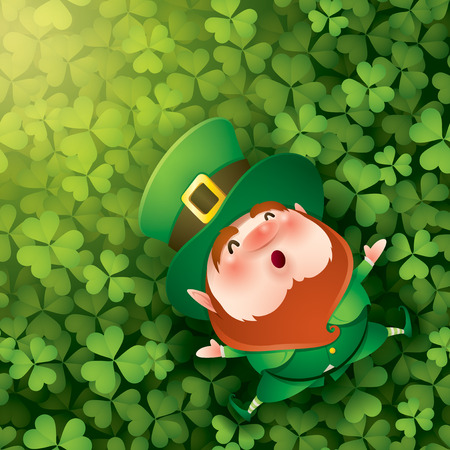 cartoon character of funny leprechaun in green cylinder hat lying on clover meadow, saint patrick day concept. 向量圖像